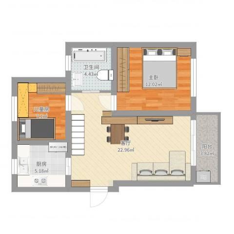 汇颂南苑2室1厅1卫1厨69.00㎡户型图