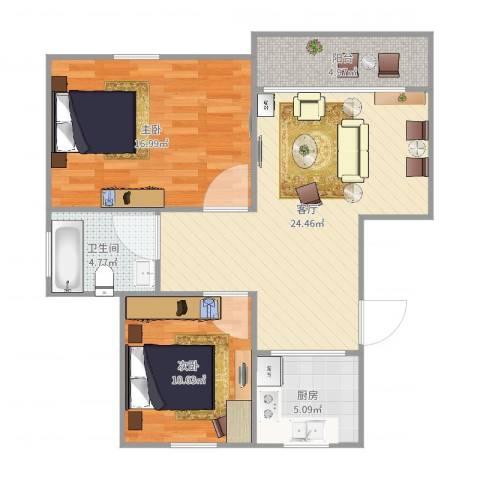汇颂南苑2室1厅1卫1厨84.00㎡户型图