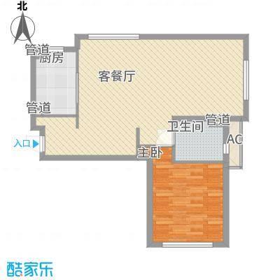 海尚佳园93.51㎡1680号01室图户型1室2厅1卫1厨
