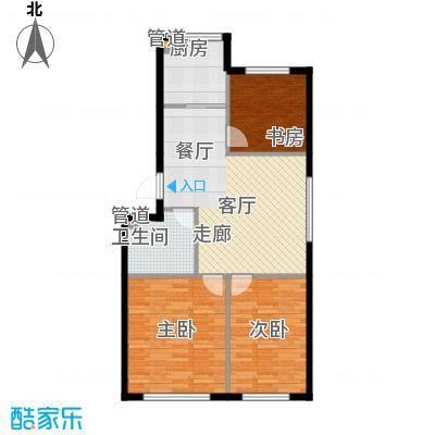 绿色家园92.11㎡D户型3室1厅1卫
