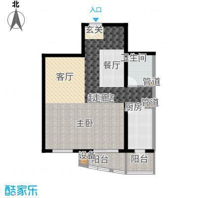 傲城尊邸87.60㎡北区一号楼B户型1室1厅1卫1厨