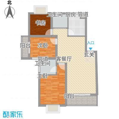 长江绿岛105.60㎡C'型户型3室2厅2卫1厨
