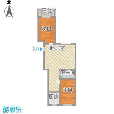 亿隆富贵名苑107.07㎡一期高层户型2室2厅1卫