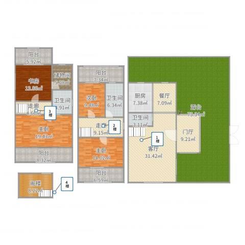 嘉年别墅4室2厅3卫1厨319.00㎡户型图