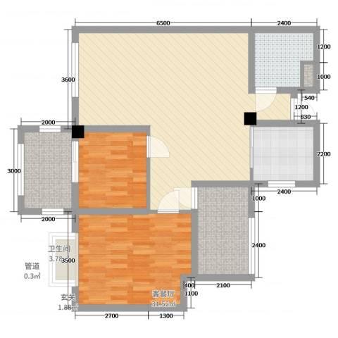 君悦上城2室2厅1卫1厨72.00㎡户型图