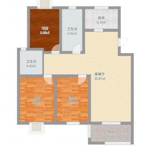 星鑫家园3室2厅2卫1厨115.00㎡户型图