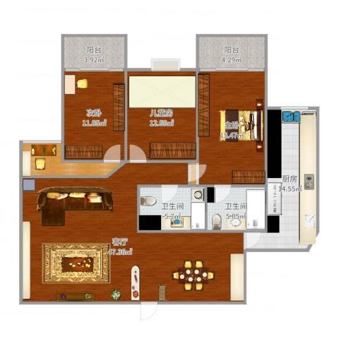 香榭丽都3室1厅2卫1厨155.00㎡户型图