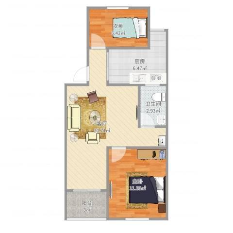 华高庭园2室1厅1卫1厨64.00㎡户型图
