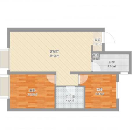 万科城・明2室2厅1卫1厨74.00㎡户型图