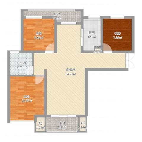 幸福天地3室2厅1卫1厨102.00㎡户型图