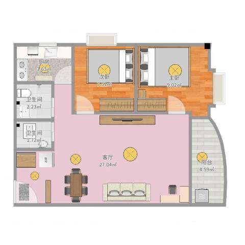 富和花园2室1厅2卫1厨69.00㎡户型图
