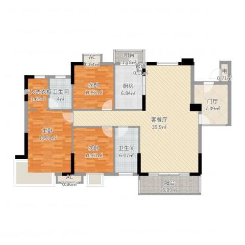 石竹山水园四期3室2厅2卫1厨144.00㎡户型图
