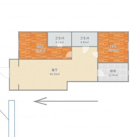 梧桐苑公寓2室1厅2卫1厨182.00㎡户型图