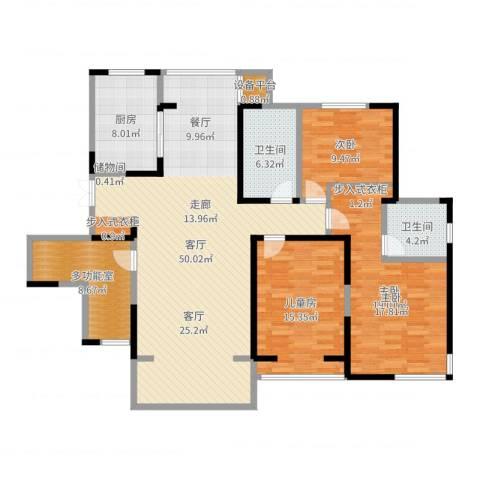 滨河花园3室1厅2卫1厨121.92㎡户型图