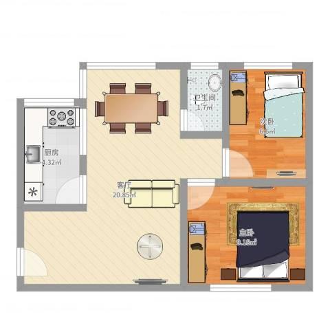 塞坝路小区2室1厅1卫1厨53.00㎡户型图