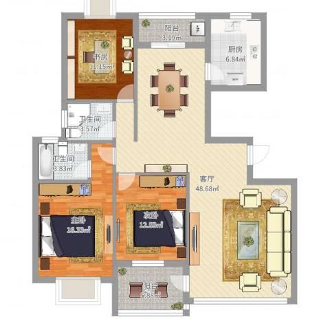 银河湾小区3室1厅2卫1厨140.00㎡户型图