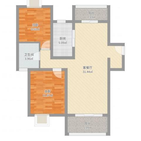 东旺雍景苑2室2厅1卫1厨87.00㎡户型图