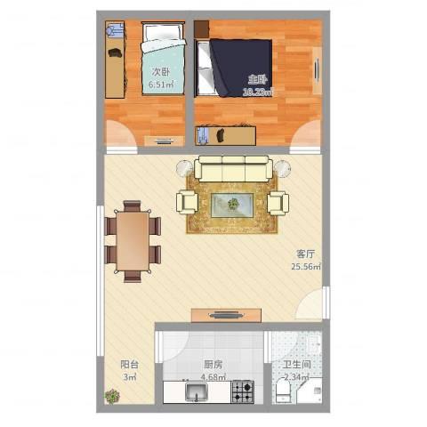 汾水小区2室1厅1卫1厨62.00㎡户型图