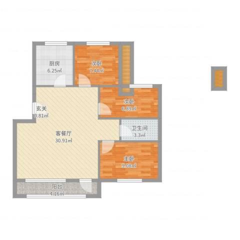 草桥欣园3室2厅1卫1厨88.00㎡户型图