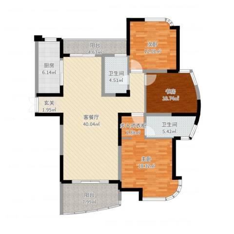 春龙金色海岸3室2厅2卫1厨137.00㎡户型图