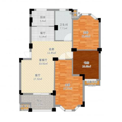 嘉禾绿洲3室2厅1卫1厨121.00㎡户型图