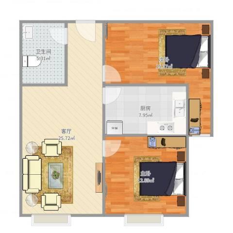 中建·玲珑山2室1厅1卫1厨84.00㎡户型图