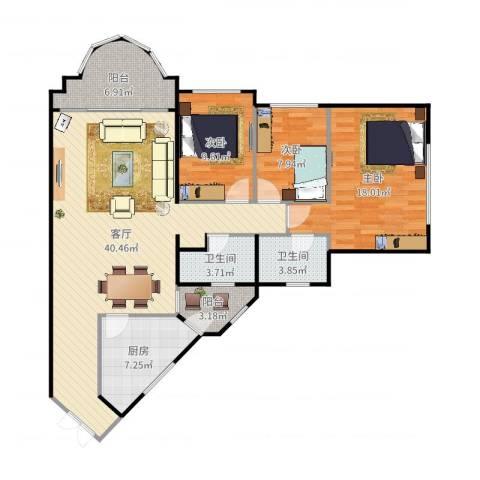 隆盛花园3室1厅2卫1厨126.00㎡户型图