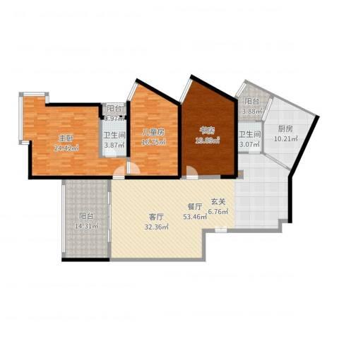 长江之家3室1厅2卫1厨188.00㎡户型图