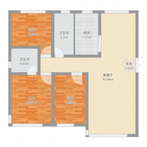 国宝星月湾3室2厅2卫1厨129.00㎡户型图