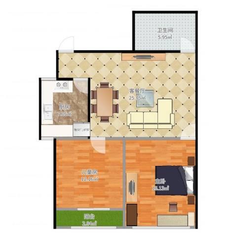 文东花园892室2厅1卫1厨87.00㎡户型图