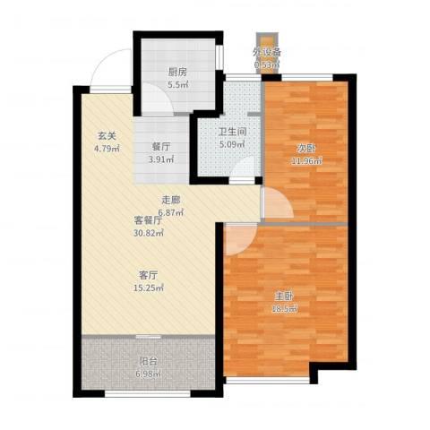 当代国际广场2室2厅1卫1厨99.00㎡户型图