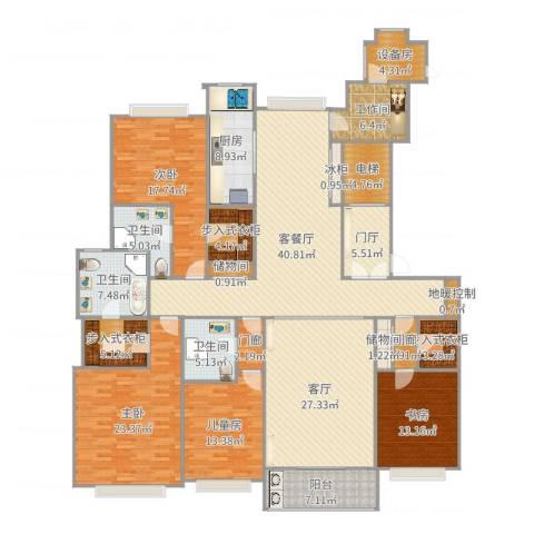绿洲雅宾利花园三期4室3厅3卫1厨267.00㎡户型图