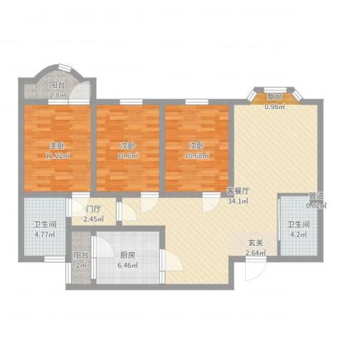 天乐嘉苑3室2厅2卫1厨112.00㎡户型图