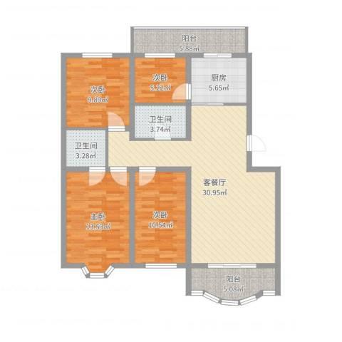 万达花园4室2厅2卫1厨117.00㎡户型图