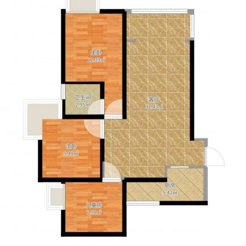 千山米兰郡3室1厅1卫1厨88.00㎡户型图