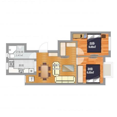 龙南三村2室2厅1卫1厨55.00㎡户型图
