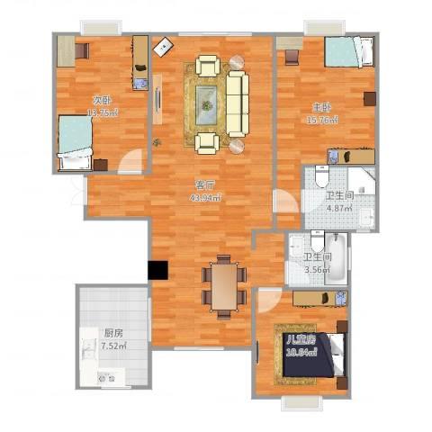 建德花园牡丹苑3室1厅2卫1厨125.00㎡户型图