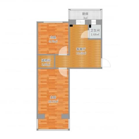 宾水南里2室2厅1卫1厨60.00㎡户型图