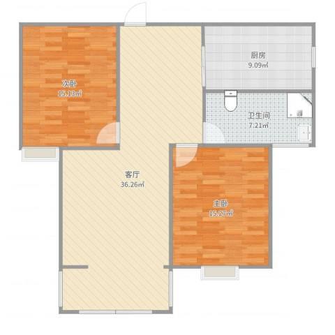 微山金泰花园2室1厅1卫1厨104.00㎡户型图