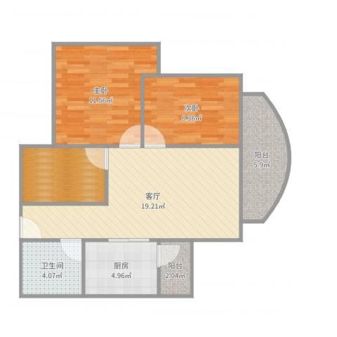 嘉怡苑2室1厅1卫1厨77.00㎡户型图