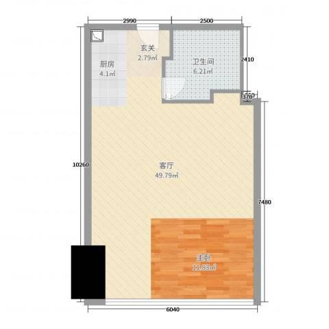苏宁广场1厅1卫0厨70.00㎡户型图