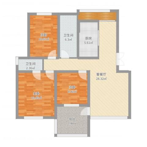 温哥华城・金水河畔3室2厅2卫1厨106.00㎡户型图