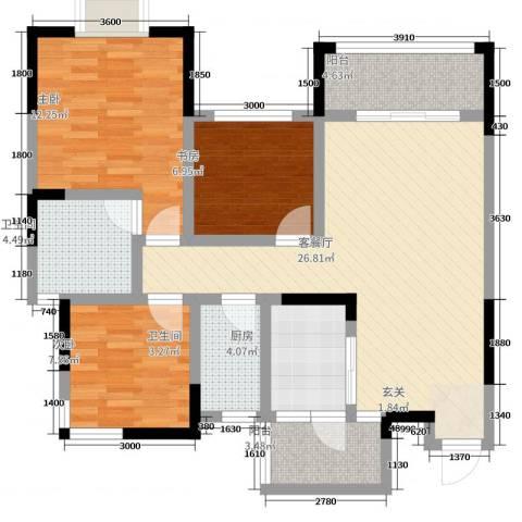 东邦城市花园3室2厅2卫1厨95.00㎡户型图