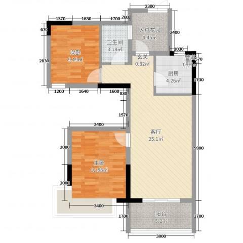 龙畅城市广场2室1厅1卫1厨87.00㎡户型图