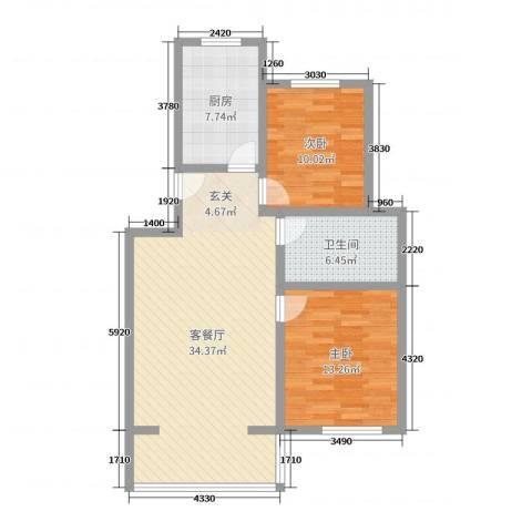广厦・凤凰城2室2厅1卫1厨91.00㎡户型图