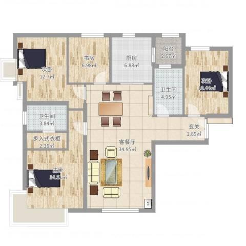 富力新城4室2厅2卫1厨125.00㎡户型图