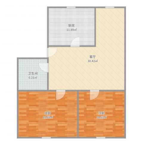 建设路16弄小区2室1厅1卫1厨102.00㎡户型图