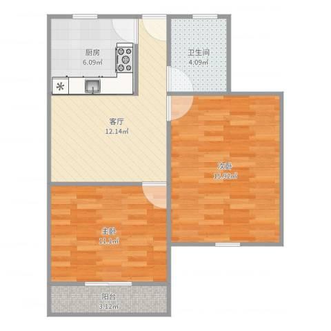 剑川路150弄小区2室1厅1卫1厨66.00㎡户型图