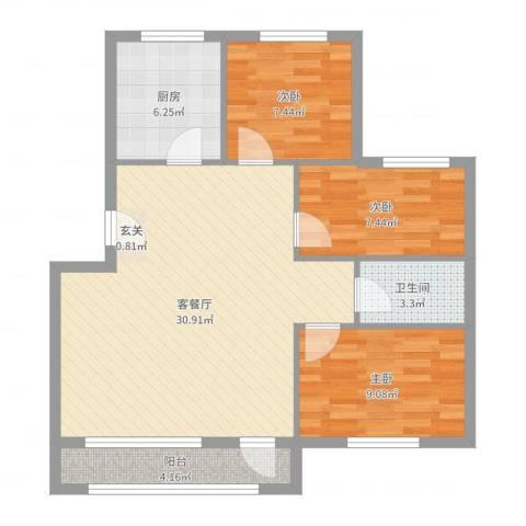 草桥欣园3室2厅1卫1厨86.00㎡户型图