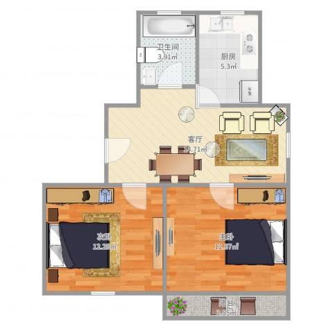 剑桥丽苑2室1厅1卫1厨64.00㎡户型图